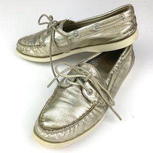 Sperry Leather Original Boat Shoe Platinum Size 8